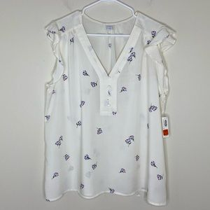 NWT Old Navy Ivory Floral Sleeveless Blouse